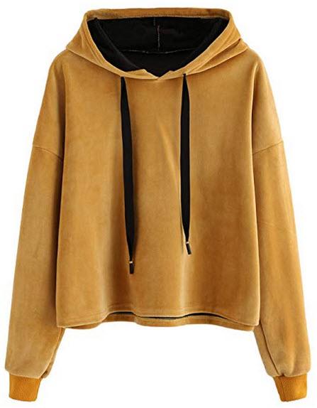 MAKEMECHIC Womens Drawstring Velvet Drop Shoulder Pullover Sweatshirt Crop Hoodies camel