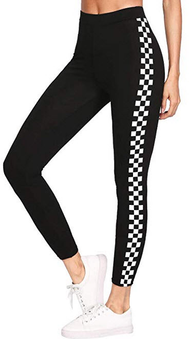 MAKEMECHIC Womens Plaid Sport Leggings Crop Workout Yoga Tights black