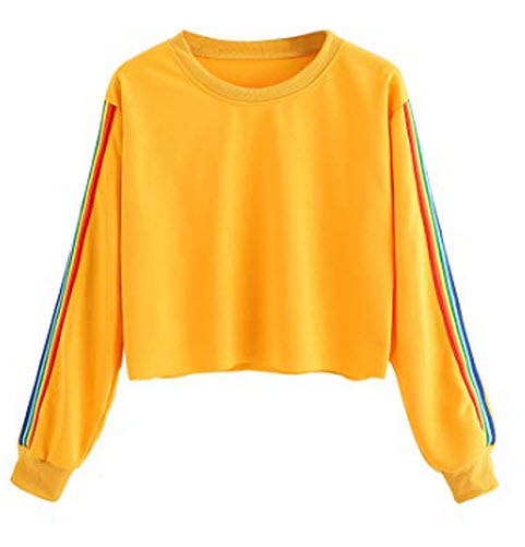 MAKEMECHIC Women's Rainbow Color Block Striped Crop Top T-Shirt Pullover Shirt, yellow