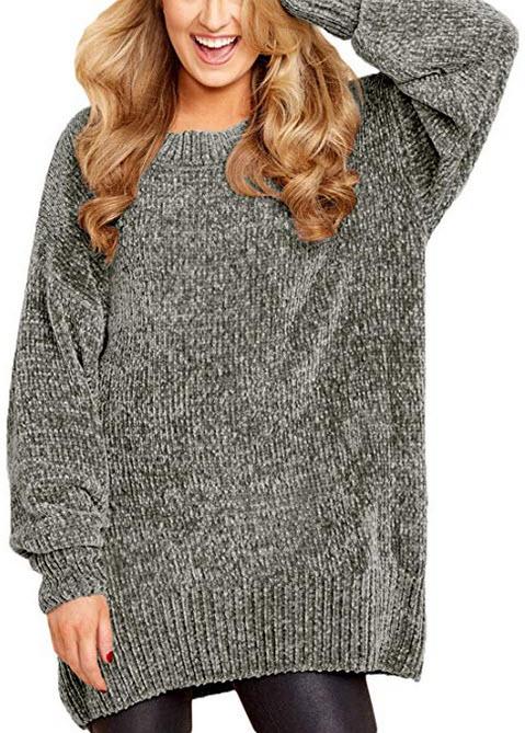 Malaven Women Cozy Scoop Neck Velvet Sweater Long Sleeve Pullover Sweaters grey 952
