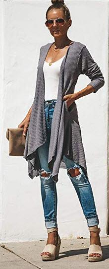 Malaven Women Sleeveless Open Front Sweaters Long Knit Cardigans Vest Pockets gray