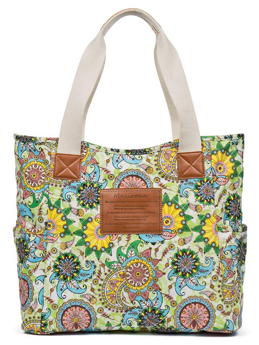 Malirona Canvas Beach Bags and Totes for Women Zippered Beach Shoulder Bag (Green Flower)