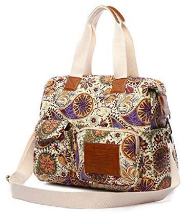 Malirona Canvas Shoulder Bag Travel Handbag Women Top Handle Satchel Crossbody Purse Floral Desi ...