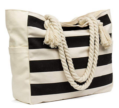 Malirona Large Beach Travel Tote Bag Canvas Shoulder Bag with Cotton Rope Handle black stripes