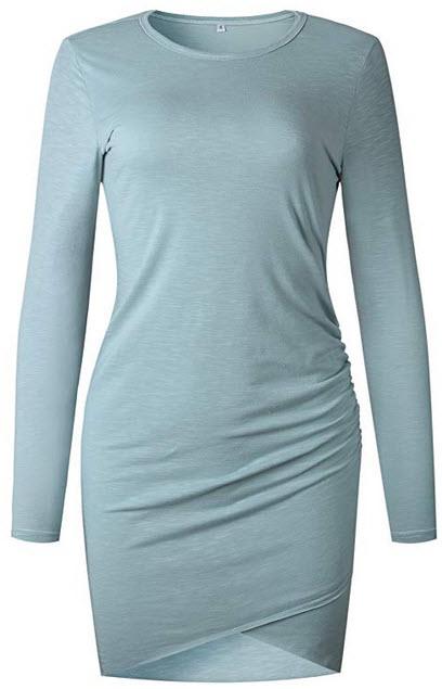 Mansy Women's Long Sleeve Tulip Bodycon Dress Ruched Short Mini Dresses blue