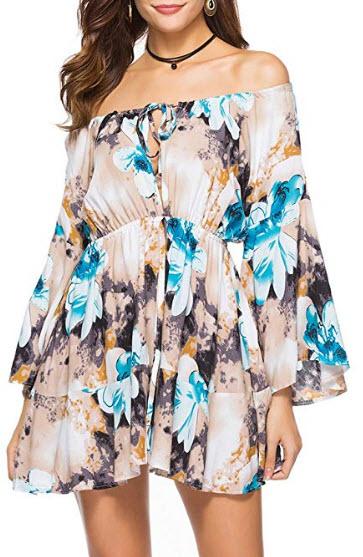 Mansy Women's Summer Casual Off Shoulder Dress Floral Print Dresses, grey