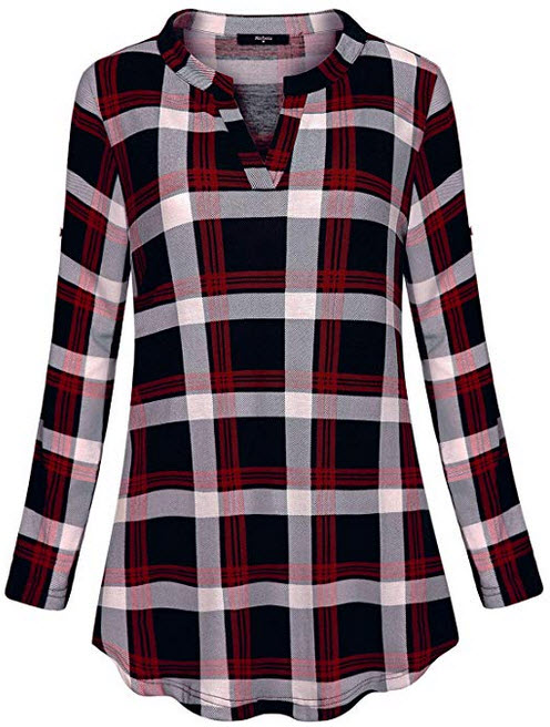 Marbetia Womens 3/4 Roll Sleeve Shirt V Neck Loose Tops Plaid Tunic Blouse wine