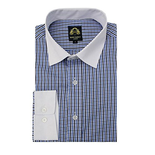 Marc Darcy Mens Italian Designer Blue Checked Contrast Collar Long Sleeve Shirt