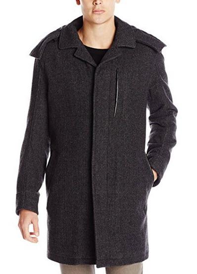 Marc New York by Andrew Marc Men's Boulevard Herringbone Coat with Hood.