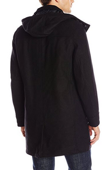 Marc New York by Andrew Marc Men's Boulevard Twill Wool Coat with Hood.