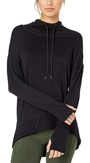 Marc New York Performance Womens Peaceful Yoga Hi-lo Hooded Tunic black