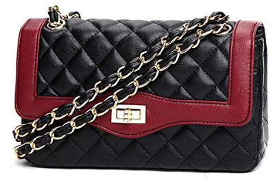 Marchome Women Classic Quilted Chain Crossbody Shoulder Bag with Golden Hardware, red