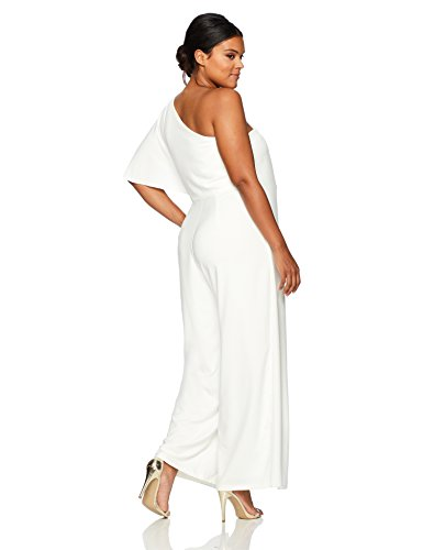 Marina Women's Plus Size One Shoulder Jumpsuit with Cascade Ruffle Detailing
