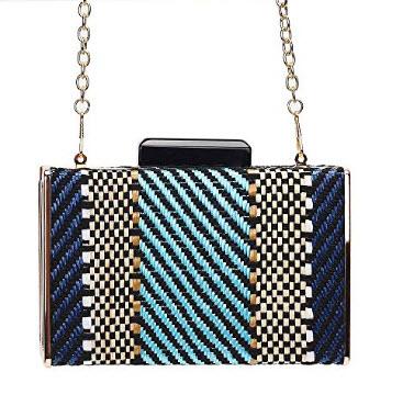 Marswoodsen Fashion Colorful Woven Evening Bag Women Clutch Purse Mini Crossbody Bag Handbag, blue