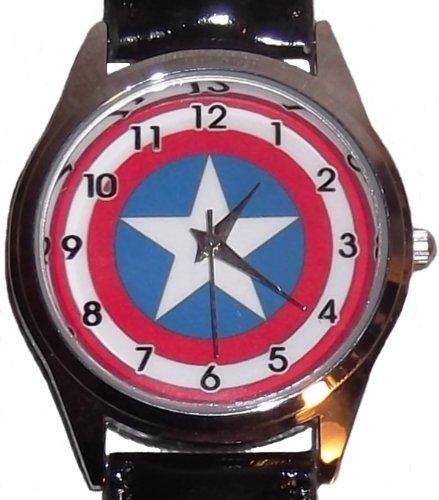 Marvel Comics CAPTAIN AMERICA Logo Leather Band WRIST WATCH by Main Street 24/7