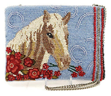 MARY FRANCES Buck Up Beaded Horse Theme Crossbody Zipper Top Handbag