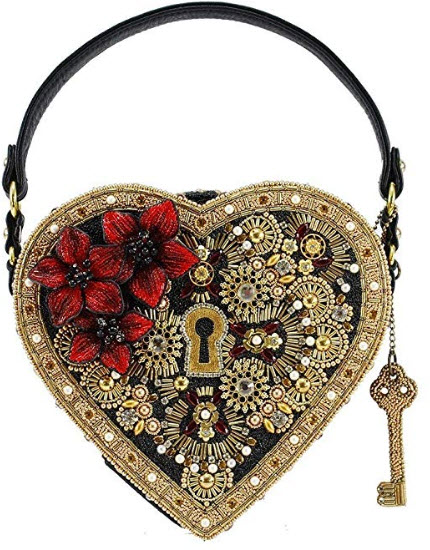 Mary Frances Key Embellished Heart Lock & Key Top Handle Bag