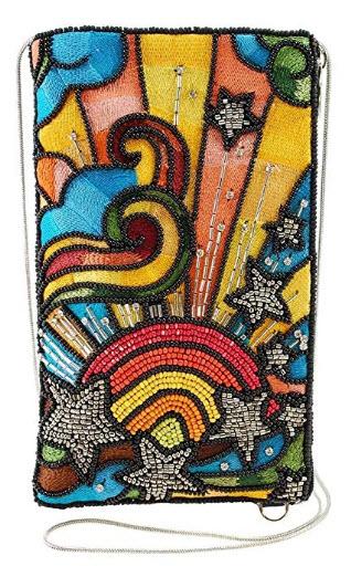 Mary Frances Rainbow Burst Beaded-Embroidered Crossbody Phone Bag
