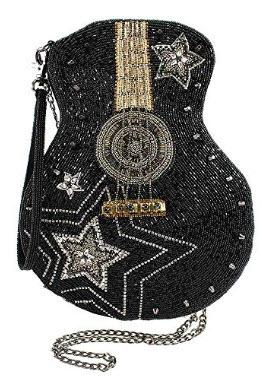 MARY FRANCES Superstar Beaded Crossbody Guitar Handbag
