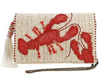 MARY FRANCES You Are My Lobster Beaded-Embroidered Raw Silk Novelty Crossbody Clutch Handbag