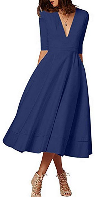 Mavis Laven Women Half Sleeve Deep V Neck Big Swing Party Cocktail Pleated Dress navy blue