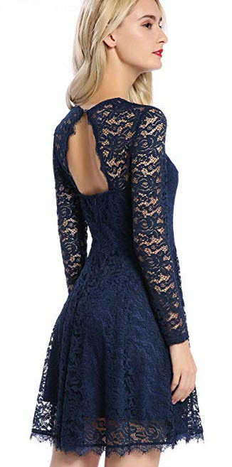 Mavis Laven Women's Long Sleeve Christmas Backless Hollow Out Crocheted Lace Dress Navy Blue