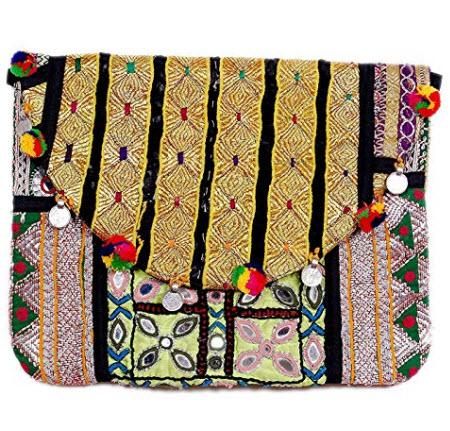 MAYA EMPORIUM Fancy Design Satin Banjara Embroidery Bag