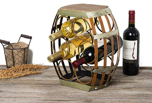 mColorful Tabletop Wine Rack,Wine Holders Racks for 6 Bottles with Barrel Shaped and Rustic Wood Top