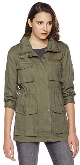 MEHEPBURN Women's Lightweight Military Anorak Parka Jacket with Drawstring Hooded army green
