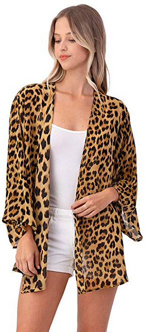 Leopard Cheetah Print Chiffon Kimono Cardigan – Cover up and Robe brown