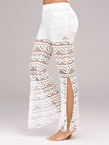 Melory Women's Sexy Lace Crochet See Through Bootleg Bootcut Flared Pants Long Palazzo Pants