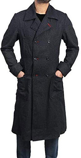 Wonder Fashions Men Sherlock Holmes Long Gray Coat Stylish Long Woolen Charcoal Gray Trench Coat