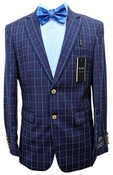 Men's Apollo King 100% WOOL Navy Red White Check 2 Button Modern Fit Blazer.