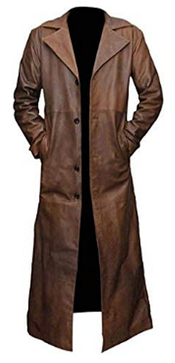 TLE Men's Batman Vs Superman Dawn of Justice Nightmare Real Leather Trench Coat