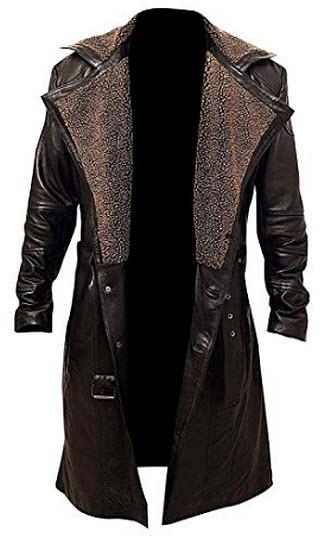 The Leather Empire Men's Blade Runner 2049 Officer K Ryan Gosling Long Brown Leather Trenc ...