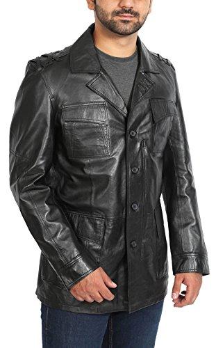 Mens Blazer Reefer Leather Jacket Safari Button Up Hunters Coat Grant Black