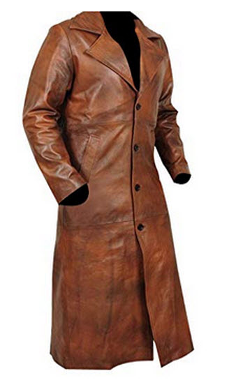 Pinnscl leather Brown Leather Long Trench Coat