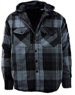 ChoiceApparel Mens Button Down Flannel Jackets with Detachable Hoodie, charcoal