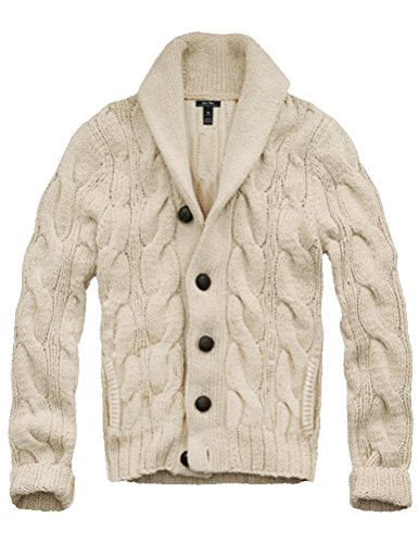 Mens Cali Holi Cable Knit Shawl Collar Cardigan Style Sweater Beige