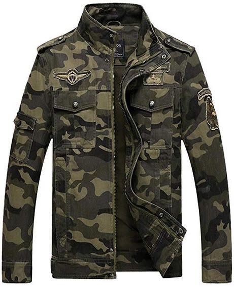 Dubuk Mens Camouflage Jacket Bomber Jackets Army Field Jacket Military Air Force Coat Camo Jacke ...