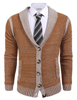 Mens Cardigan Knitted Jumper Button Through Shawl Collar Sweater by etuoji