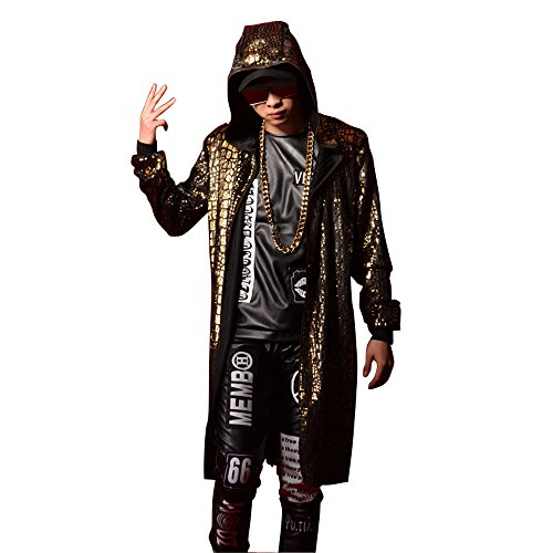 Men's Custom Made Hooded Trench Coat Hip Hop Gold Long Cloak Coat Cardigan Outerwear Stage ...