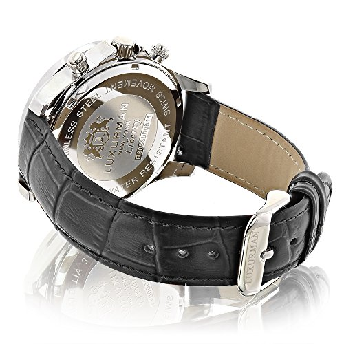 Men's Diamond Watch Liberty 2ctw of diamonds by Luxurman Black Leather Band White MOP