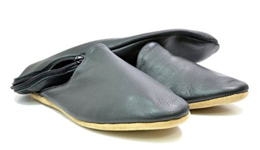 Men's Drapers Of Glastonbury Troy Handcrafted Leather Travel Slippers .