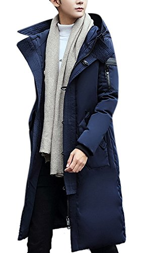 Men's Fashion Winter Thicken Down Jacket Outwear Long Trench Coat with Hoodie by AACFCHAIN