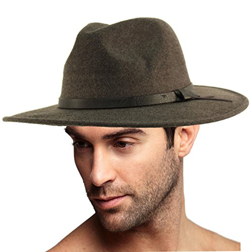 Men's Godfather Panama Wide Brim Warm Derby Fedora Trilby Upturn Brim Hat by SK Hat shop