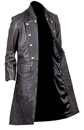 Sarz-Fashion Men's Goth Butter Military Style Real Sheepskin Leather Long Trench Coat