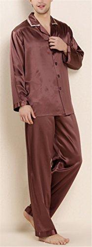 Men's Luxury Long Silk Pajamas Set Sleepwear 2Pcs