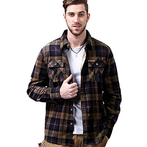 Men's Multi-Colour Checked Shirt in Brushed Flannel Quality by dichuan
