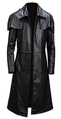 Jackson Leather Men's New Vegas A7 Veteran Ranger Armor NCR Black Genuine Trench Leather Coat